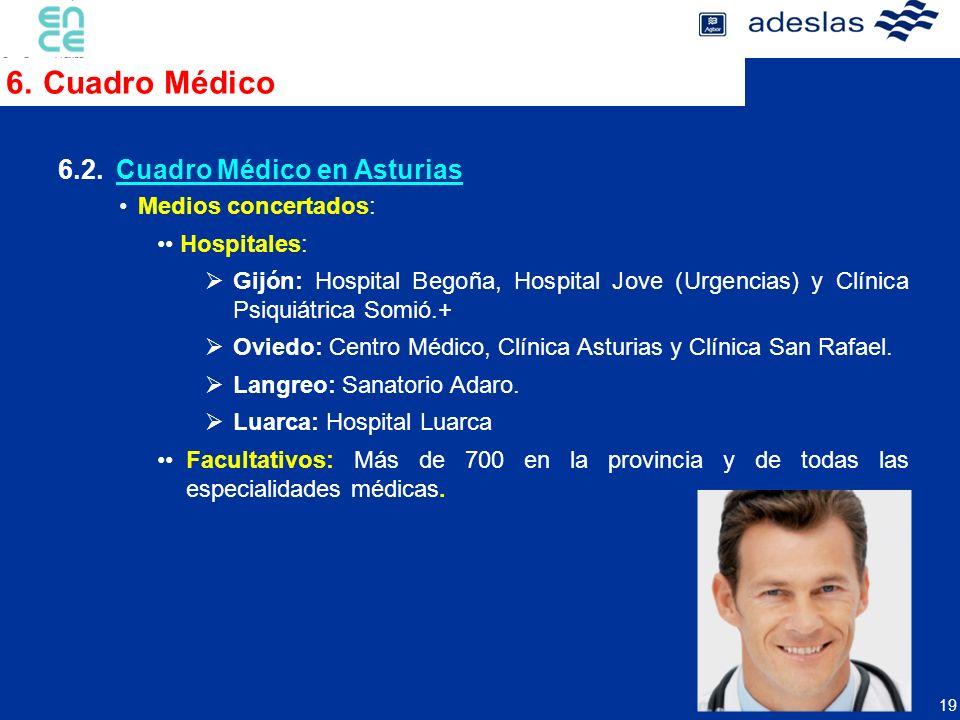 19 6.1.Hospitales y Centros Propios. Medios concertados: Hospitales: Gijón: Hospital Begoña, Hospital Jove (Urgencias) y Clínica Psiquiátrica Somió.+