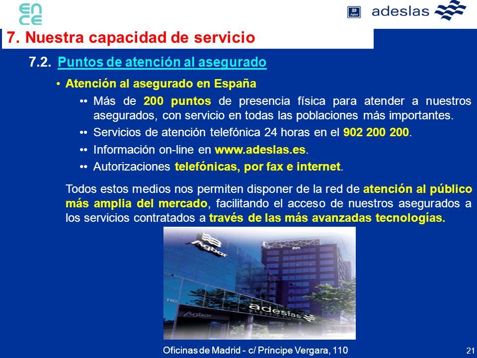 21 Atención al asegurado en España Más de 200 puntos de presencia física para atender a nuestros asegurados, con servicio en todas las poblaciones más
