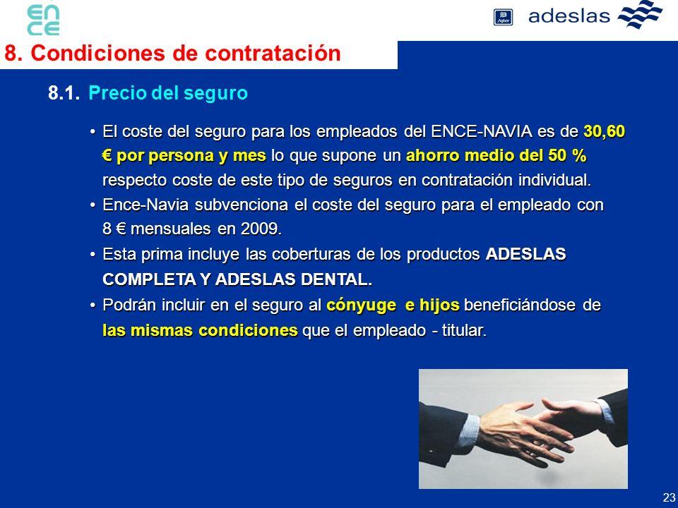 23 8.1.Precio del seguro 8.Condiciones de contratación El coste del seguro para los empleados del ENCE-NAVIA es de 30,60 por persona y mes lo que supo