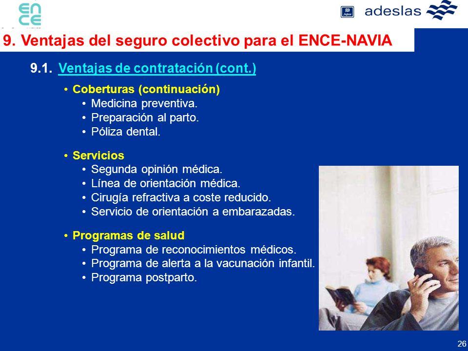 26 9.1.Ventajas de contratación (cont.) Coberturas (continuación) Medicina preventiva. Preparación al parto. Póliza dental. Servicios Segunda opinión