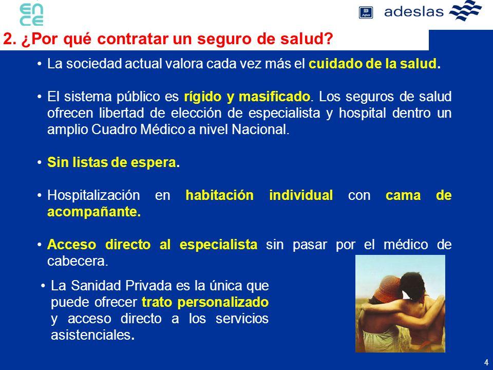 4 2. ¿Por qué contratar un seguro de salud? La sociedad actual valora cada vez más el cuidado de la salud. El sistema público es rígido y masificado.