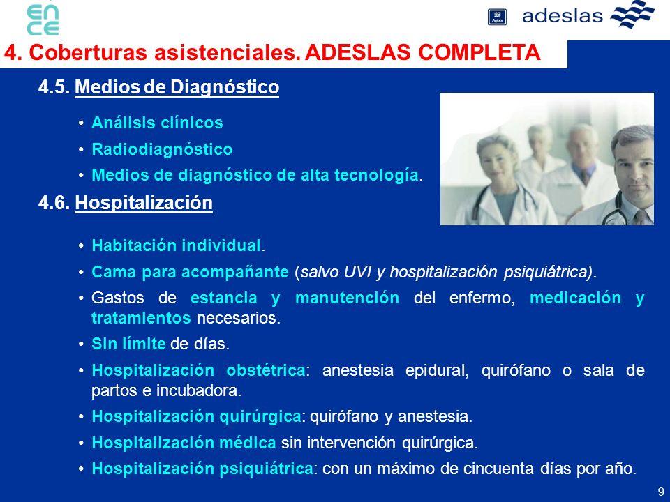 9 Análisis clínicos Radiodiagnóstico Medios de diagnóstico de alta tecnología. 4.5. Medios de Diagnóstico 4. Coberturas asistenciales. ADESLAS COMPLET