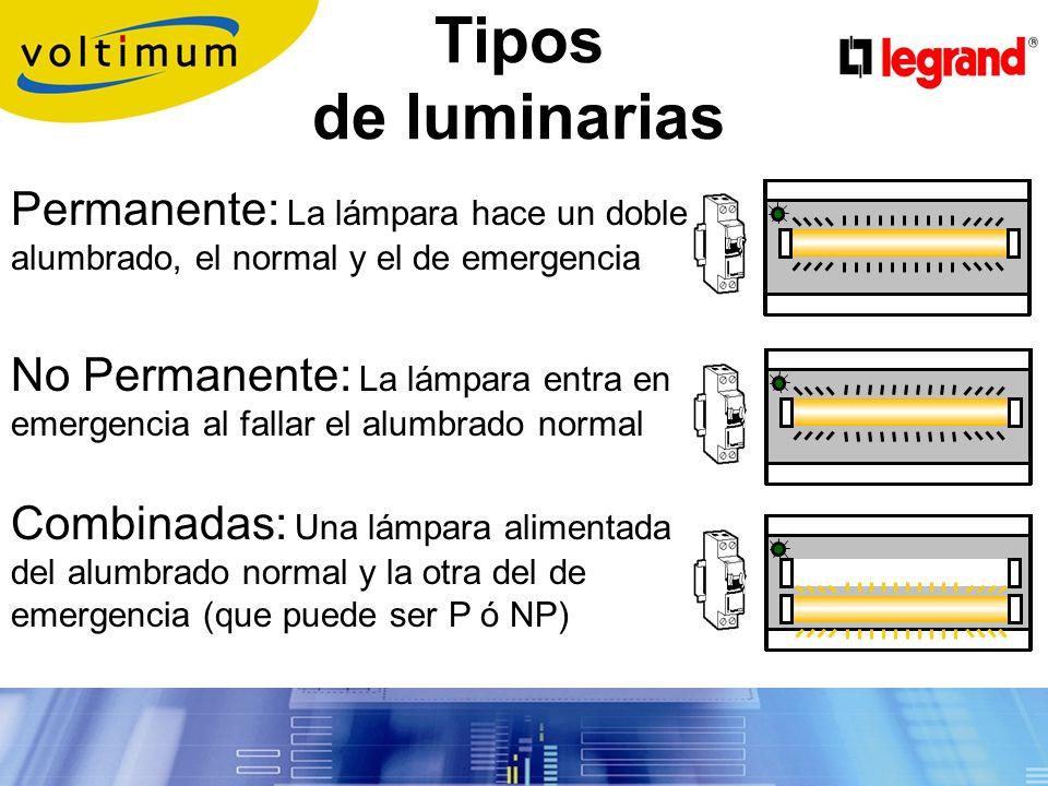 Prescripciones de los aparatos Norma constructiva UNE-EN 60 598-2-22 (Su cumplimiento se acredita con la marca de calidad) Luminarias autónomas (Con batería) Cumplen UNE 20 062 (incandesc.) ó 20 392 (fluo.) Se conectan a la misma fase del alumbrado normal Luminarias centralizadas (Alimentadas por F.A.) Líneas protegidas por magnetotérmicos de 10 A Máximo 12 luminarias centralizadas por línea Como mínimo 2 líneas de alimentación diferentes