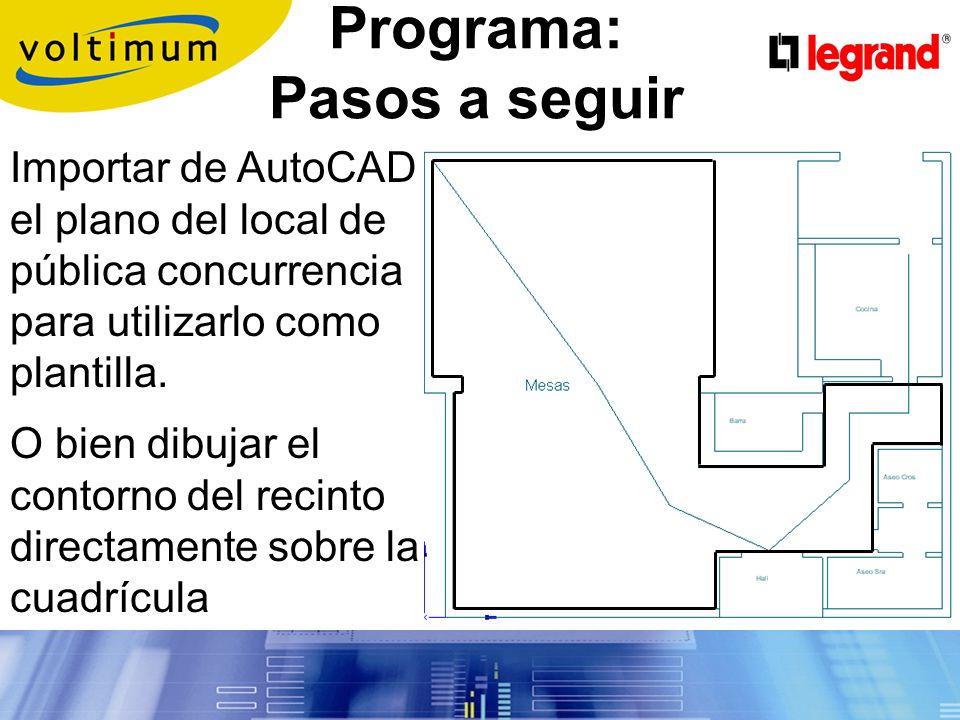 Programa de cálculo Proporciona 1Lx para el alumbrado de evacuación; 0,5 Lx para el de ambiente y 5 Lx en equipos manuales contra incendios y cuadros de distribución.
