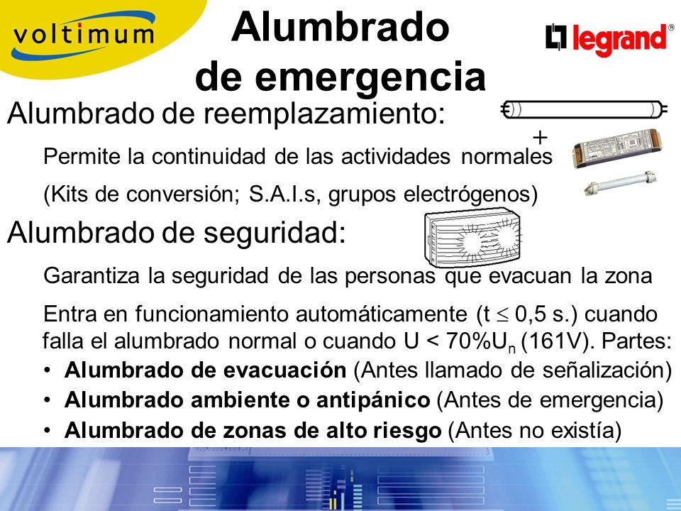 Alumbrado normal (Interior): Diseñado para obtener el nivel de iluminación requerido en función del uso del local.