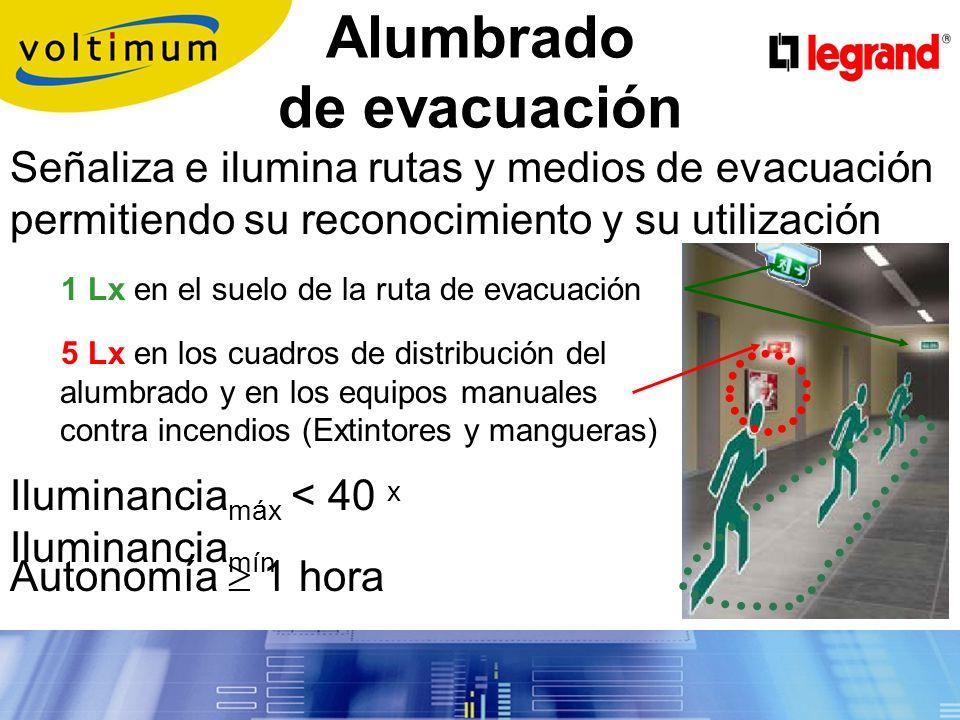 Alumbrado de emergencia Alumbrado de seguridad: Garantiza la seguridad de las personas que evacuan la zona Entra en funcionamiento automáticamente (t 0,5 s.) cuando falla el alumbrado normal o cuando U < 70%U n (161V).