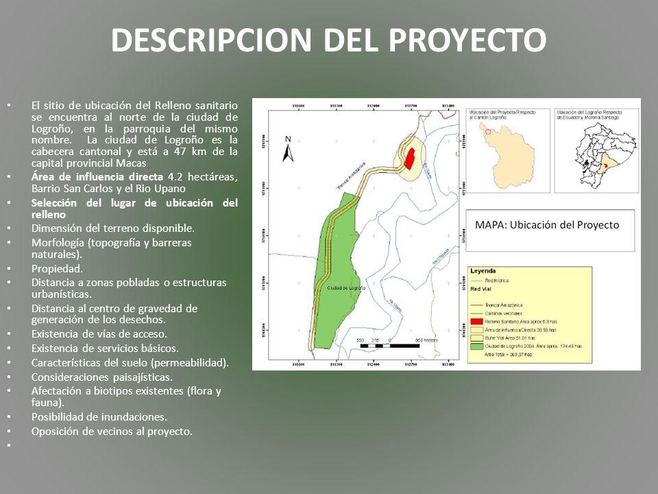 DESCRIPCION DEL PROYECTO El sitio de ubicación del Relleno sanitario se encuentra al norte de la ciudad de Logroño, en la parroquia del mismo nombre.