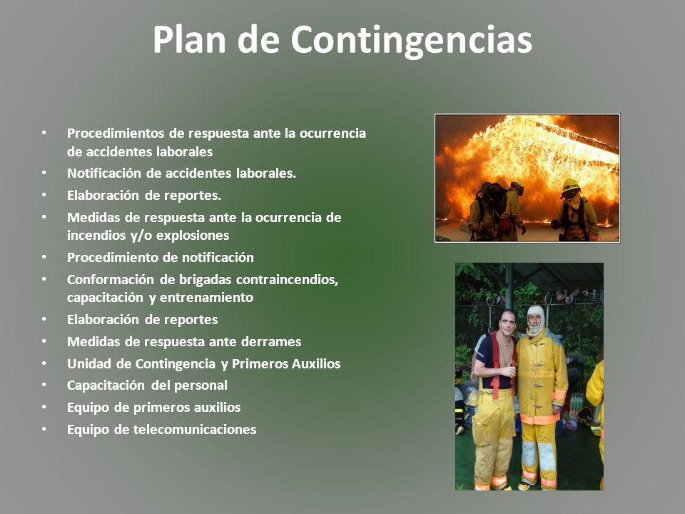 Plan de Contingencias Procedimientos de respuesta ante la ocurrencia de accidentes laborales Notificación de accidentes laborales.