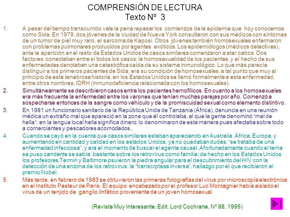 COMPRENSIÓN DE LECTURA Texto Nº 3 1.A pesar del tiempo transcurrido vale la pena repasar los comienzos de la epidemia que hoy conocemos como Sida.