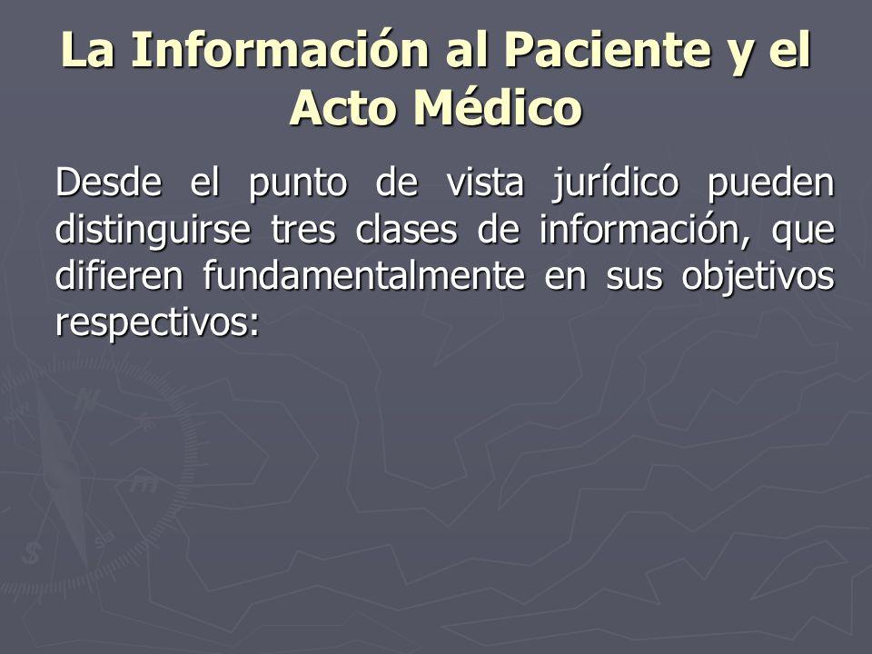 La Información al Paciente y el Acto Médico Desde el punto de vista jurídico pueden distinguirse tres clases de información, que difieren fundamentalm