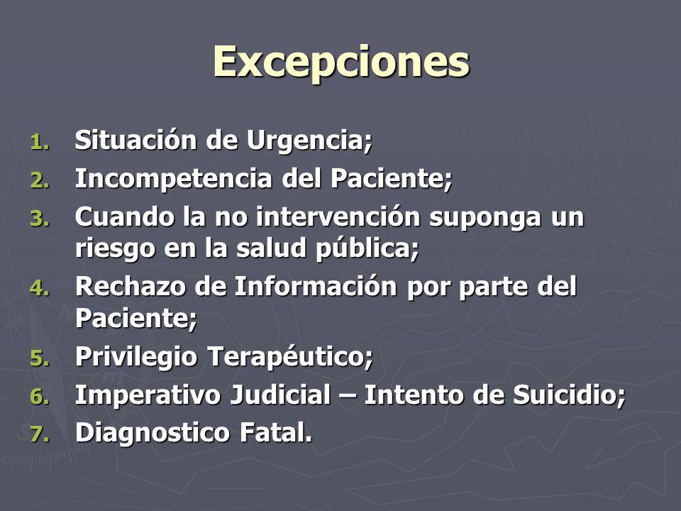 Excepciones 1. Situación de Urgencia; 2. Incompetencia del Paciente; 3. Cuando la no intervención suponga un riesgo en la salud pública; 4. Rechazo de