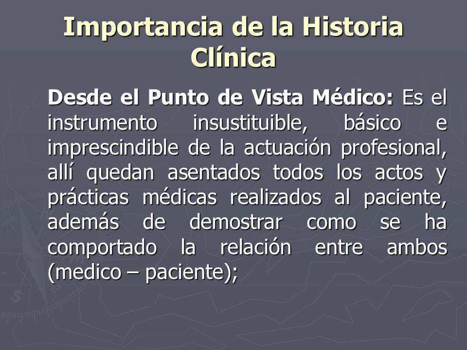 Importancia de la Historia Clínica Desde el Punto de Vista Médico: Es el instrumento insustituible, básico e imprescindible de la actuación profesiona