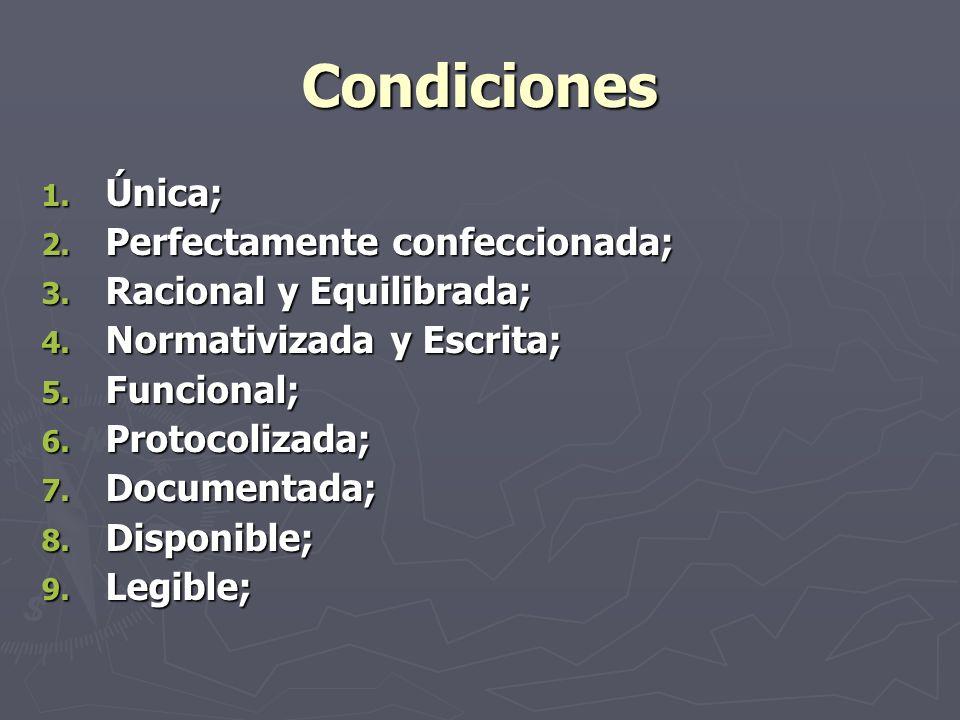Condiciones 1. Única; 2. Perfectamente confeccionada; 3. Racional y Equilibrada; 4. Normativizada y Escrita; 5. Funcional; 6. Protocolizada; 7. Docume