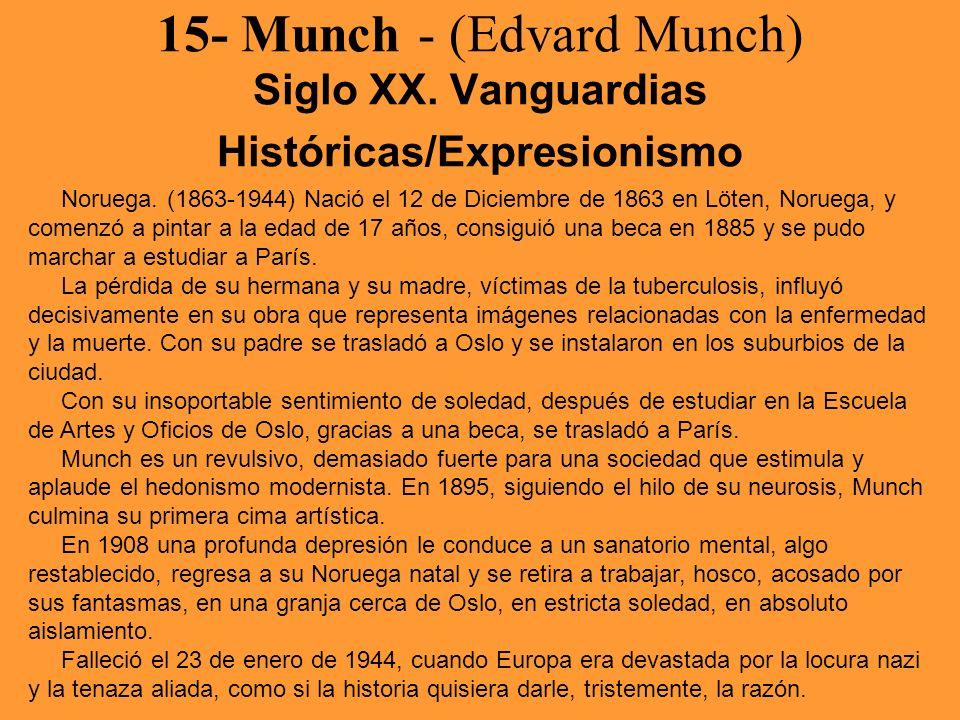 15- Munch - (Edvard Munch) Siglo XX. Vanguardias Históricas/Expresionismo Noruega. (1863-1944) Nació el 12 de Diciembre de 1863 en Löten, Noruega, y c