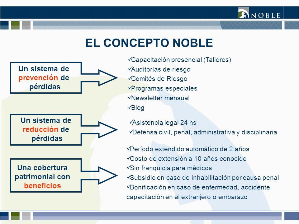 EL CONCEPTO NOBLE Un sistema de prevención de pérdidas Capacitación presencial (Talleres) Auditorías de riesgo Comités de Riesgo Programas especiales