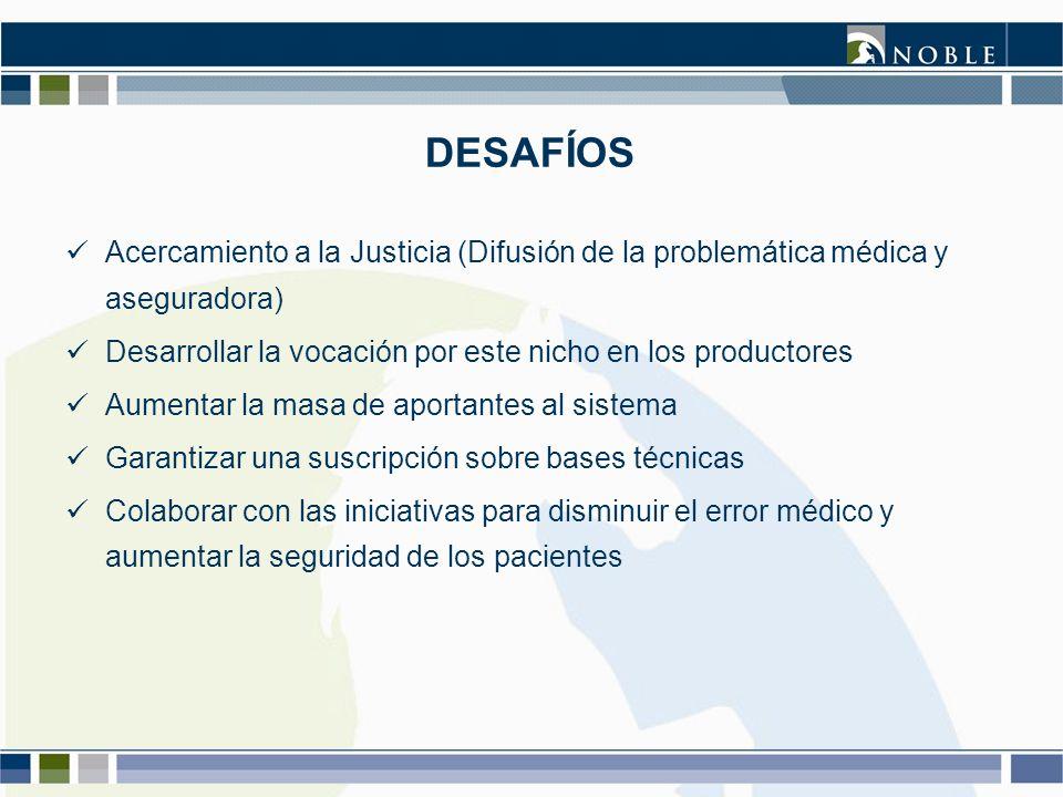 DESAFÍOS Acercamiento a la Justicia (Difusión de la problemática médica y aseguradora) Desarrollar la vocación por este nicho en los productores Aumen
