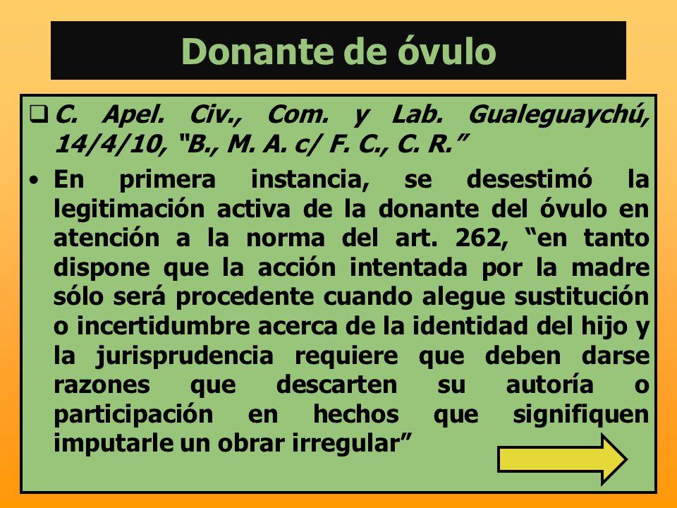 Donante de óvulo C. Apel. Civ., Com. y Lab. Gualeguaychú, 14/4/10, B., M. A. c/ F. C., C. R. En primera instancia, se desestimó la legitimación activa