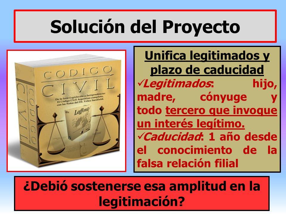Solución del Proyecto Unifica legitimados y plazo de caducidad Legitimados: hijo, madre, cónyuge y todo tercero que invoque un interés legítimo. Caduc