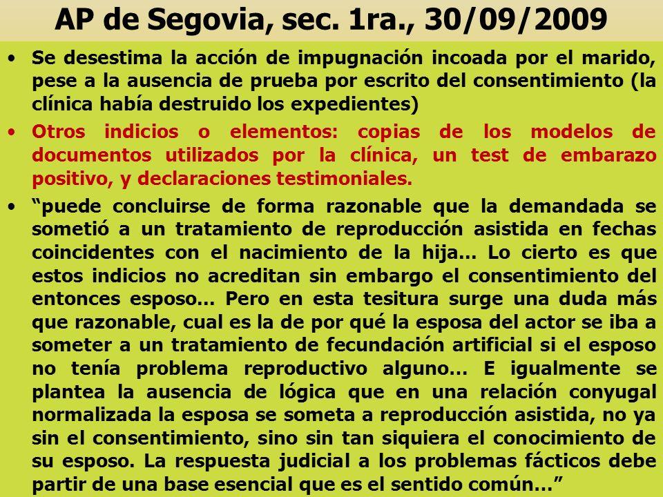 AP de Segovia, sec. 1ra., 30/09/2009 Se desestima la acción de impugnación incoada por el marido, pese a la ausencia de prueba por escrito del consent