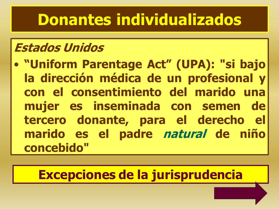 Donantes individualizados Estados Unidos Uniform Parentage Act (UPA):