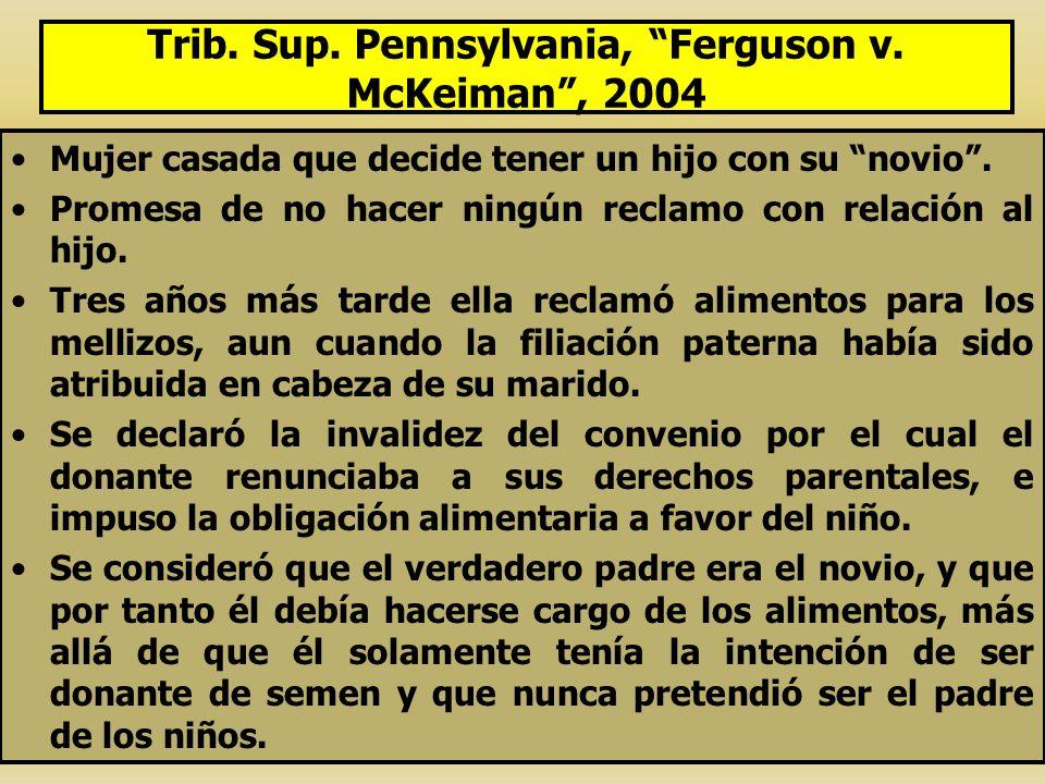 Trib. Sup. Pennsylvania, Ferguson v. McKeiman, 2004 Mujer casada que decide tener un hijo con su novio. Promesa de no hacer ningún reclamo con relació