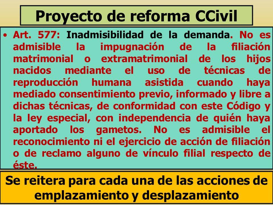 Proyecto de reforma CCivil Art. 577: Inadmisibilidad de la demanda. No es admisible la impugnación de la filiación matrimonial o extramatrimonial de l