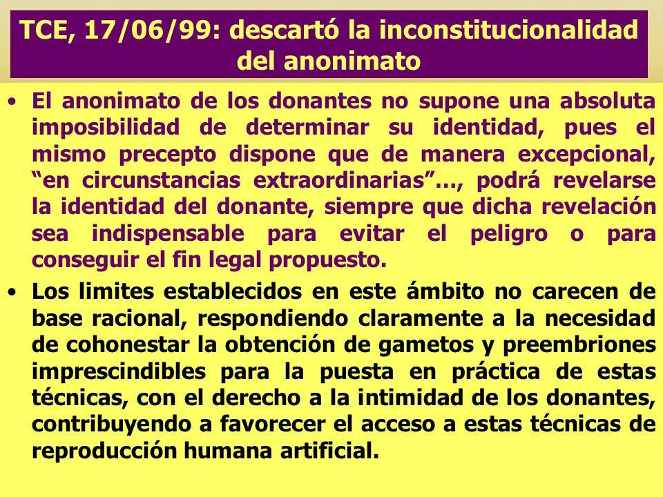 TCE, 17/06/99: descartó la inconstitucionalidad del anonimato El anonimato de los donantes no supone una absoluta imposibilidad de determinar su ident