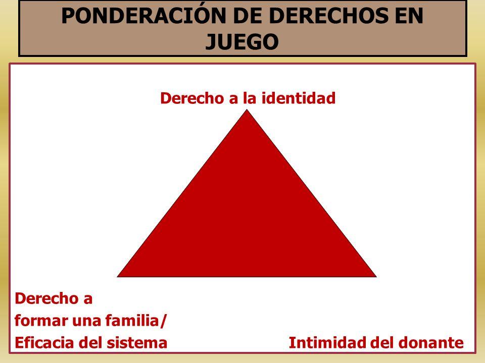 PONDERACIÓN DE DERECHOS EN JUEGO Derecho a la identidad Derecho a formar una familia/ Eficacia del sistema Intimidad del donante