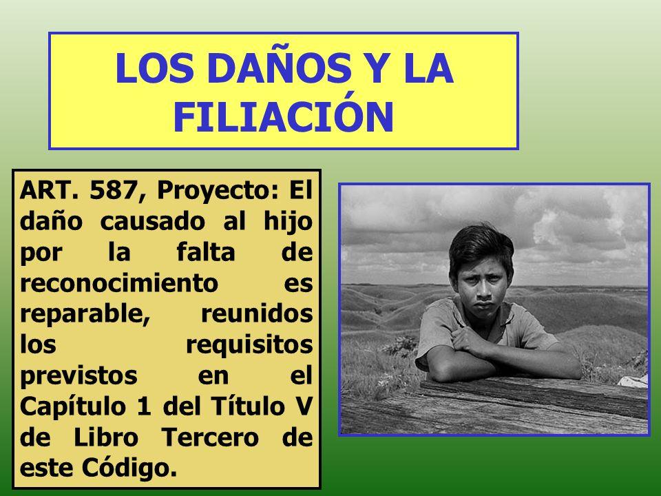 LOS DAÑOS Y LA FILIACIÓN ART. 587, Proyecto: El daño causado al hijo por la falta de reconocimiento es reparable, reunidos los requisitos previstos en