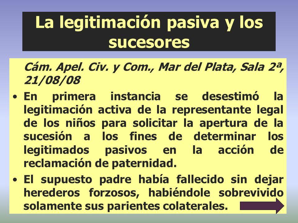 La legitimación pasiva y los sucesores Cám. Apel. Civ. y Com., Mar del Plata, Sala 2ª, 21/08/08 En primera instancia se desestimó la legitimación acti