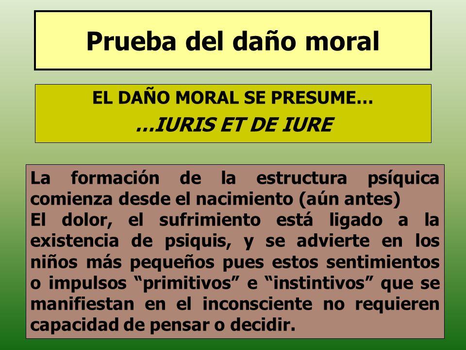 Prueba del daño moral EL DAÑO MORAL SE PRESUME… …IURIS ET DE IURE La formación de la estructura psíquica comienza desde el nacimiento (aún antes) El d