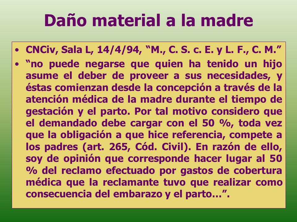 Daño material a la madre CNCiv, Sala L, 14/4/94, M., C. S. c. E. y L. F., C. M. no puede negarse que quien ha tenido un hijo asume el deber de proveer