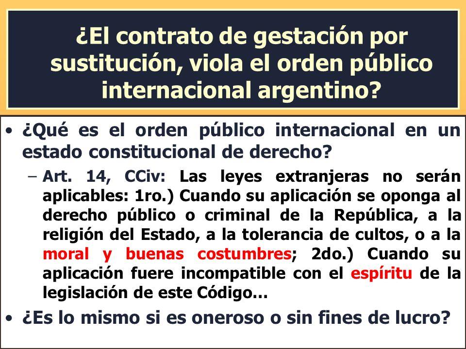 ¿El contrato de gestación por sustitución, viola el orden público internacional argentino? ¿Qué es el orden público internacional en un estado constit