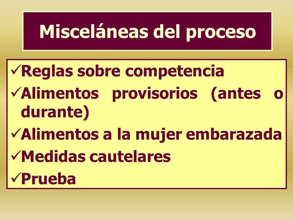 Misceláneas del proceso Reglas sobre competencia Alimentos provisorios (antes o durante) Alimentos a la mujer embarazada Medidas cautelares Prueba