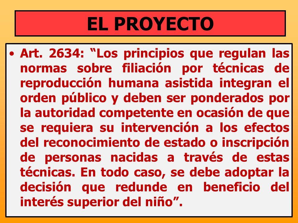 Art. 2634: Los principios que regulan las normas sobre filiación por técnicas de reproducción humana asistida integran el orden público y deben ser po