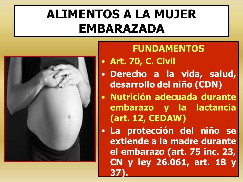 FUNDAMENTOS Art. 70, C. Civil Derecho a la vida, salud, desarrollo del niño (CDN) Nutrición adecuada durante embarazo y la lactancia (art. 12, CEDAW)