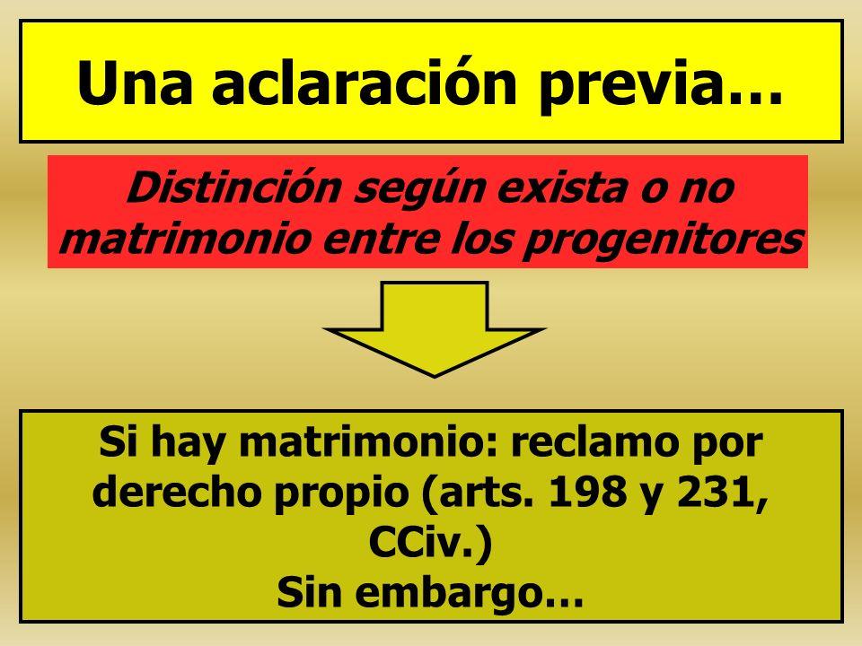 Una aclaración previa… Distinción según exista o no matrimonio entre los progenitores Si hay matrimonio: reclamo por derecho propio (arts. 198 y 231,
