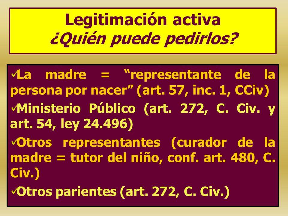 Legitimación activa ¿Quién puede pedirlos? La madre = representante de la persona por nacer (art. 57, inc. 1, CCiv) Ministerio Público (art. 272, C. C