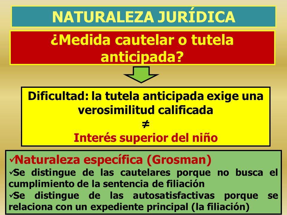¿Medida cautelar o tutela anticipada? NATURALEZA JURÍDICA Naturaleza específica (Grosman) Se distingue de las cautelares porque no busca el cumplimien