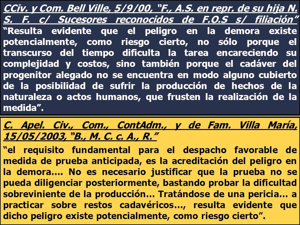 CCiv. y Com. Bell Ville, 5/9/00, F., A.S. en repr. de su hija N. S. F. c/ Sucesores reconocidos de F.O.S s/ filiación Resulta evidente que el peligro