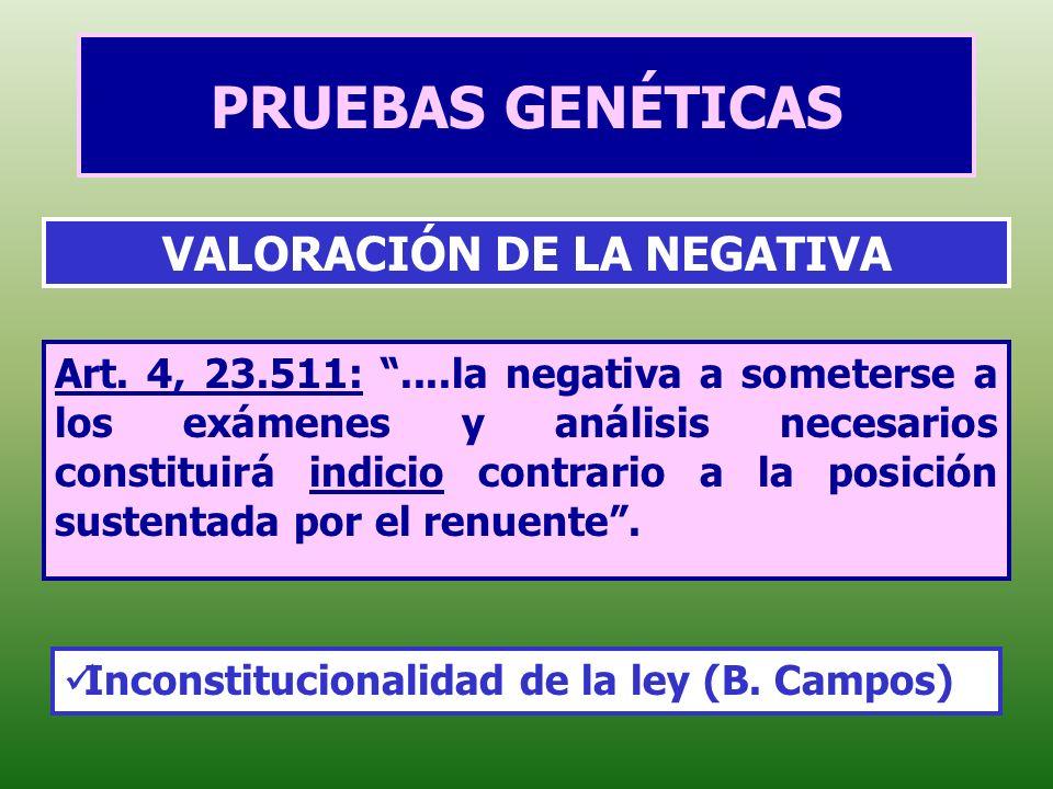 PRUEBAS GENÉTICAS Art. 4, 23.511:....la negativa a someterse a los exámenes y análisis necesarios constituirá indicio contrario a la posición sustenta