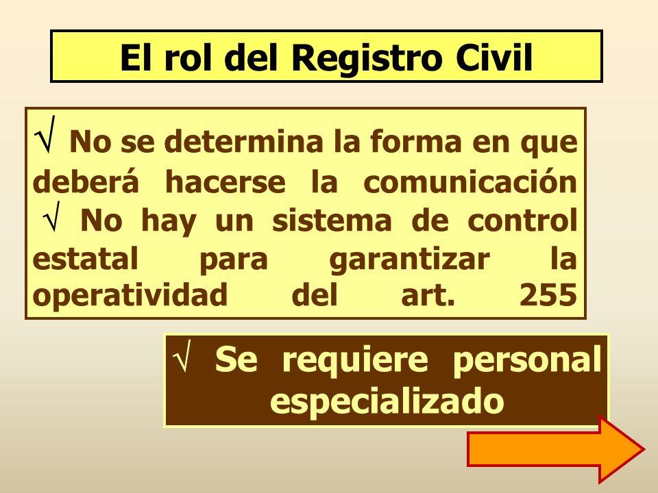 No se determina la forma en que deberá hacerse la comunicación No hay un sistema de control estatal para garantizar la operatividad del art. 255 Se re