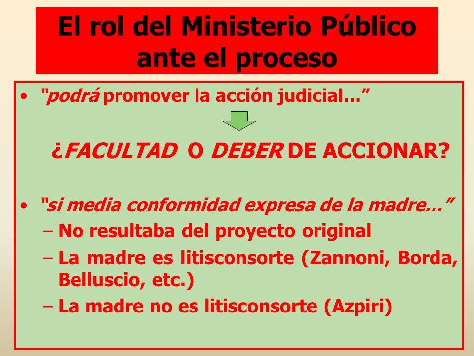 El rol del Ministerio Público ante el proceso podrá promover la acción judicial… ¿FACULTAD O DEBER DE ACCIONAR? si media conformidad expresa de la mad