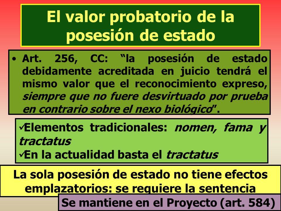El valor probatorio de la posesión de estado Art. 256, CC: la posesión de estado debidamente acreditada en juicio tendrá el mismo valor que el reconoc