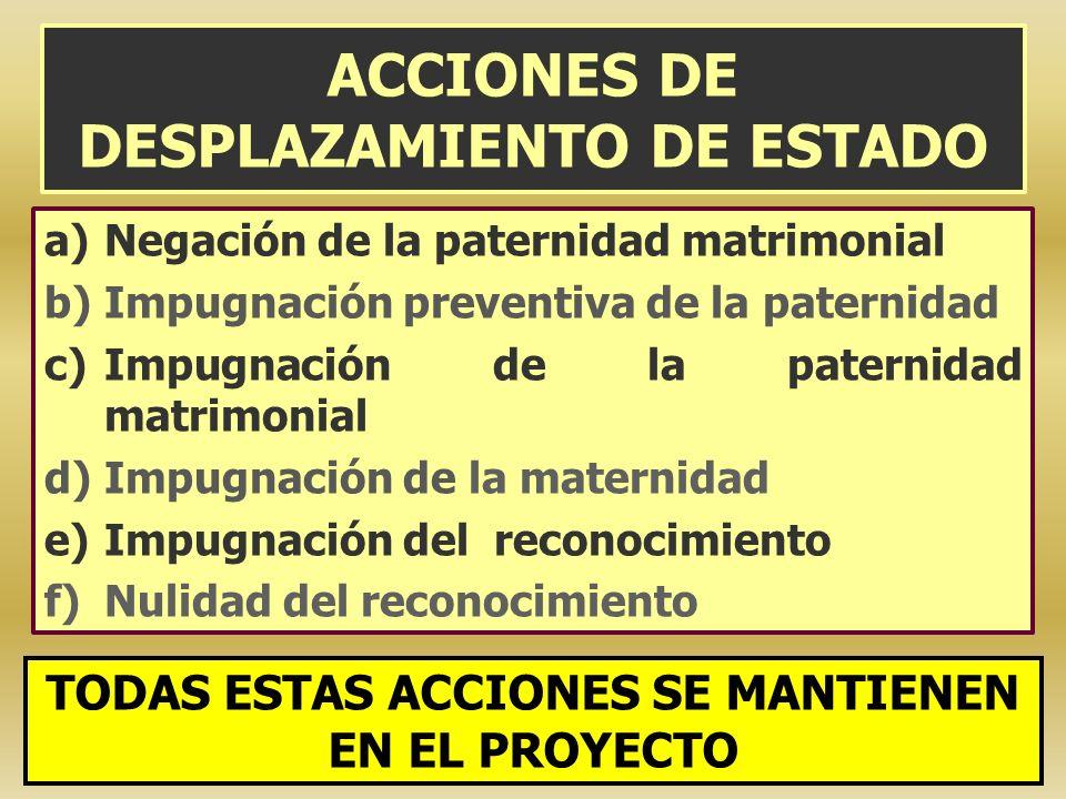ACCIONES DE DESPLAZAMIENTO DE ESTADO a)Negación de la paternidad matrimonial b)Impugnación preventiva de la paternidad c)Impugnación de la paternidad