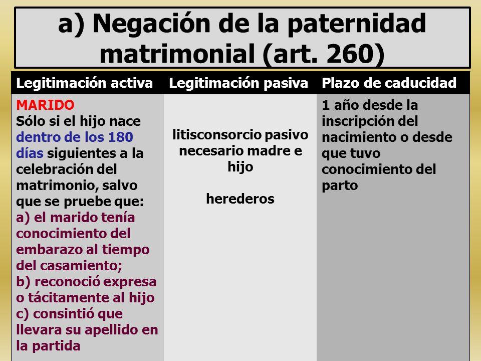 a) Negación de la paternidad matrimonial (art. 260) Legitimación activaLegitimación pasivaPlazo de caducidad MARIDO Sólo si el hijo nace dentro de los