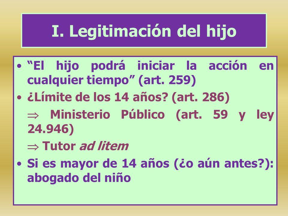 I. Legitimación del hijo El hijo podrá iniciar la acción en cualquier tiempo (art. 259) ¿Límite de los 14 años? (art. 286) Ministerio Público (art. 59
