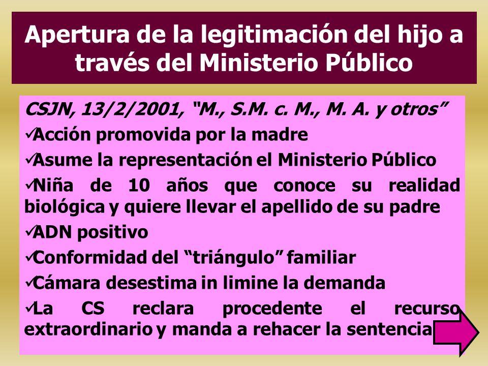 Apertura de la legitimación del hijo a través del Ministerio Público CSJN, 13/2/2001, M., S.M. c. M., M. A. y otros Acción promovida por la madre Asum