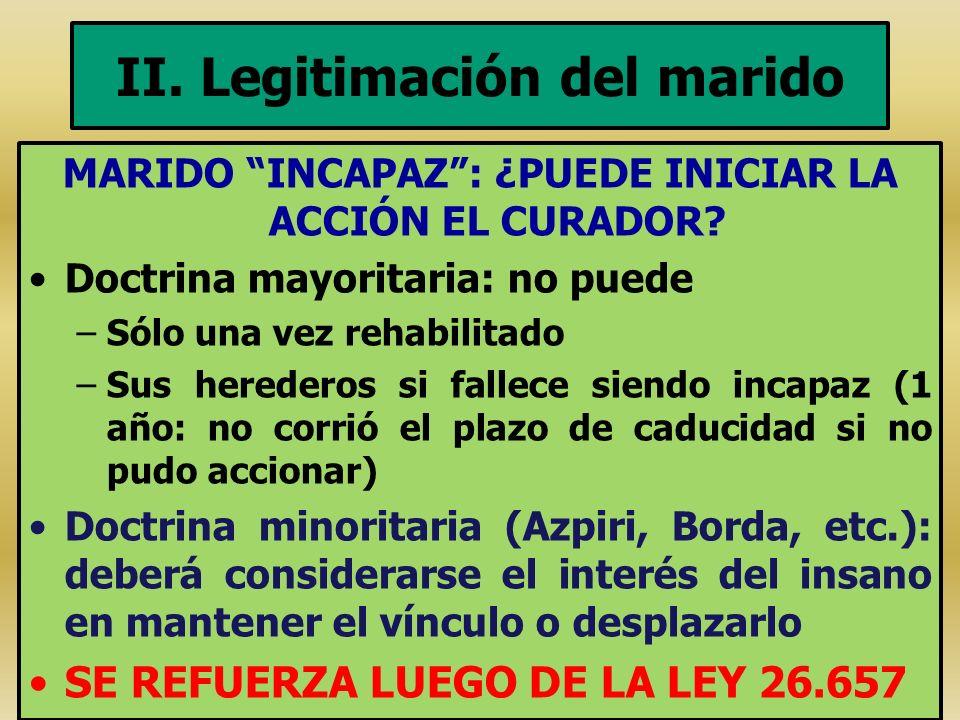 II. Legitimación del marido MARIDO INCAPAZ: ¿PUEDE INICIAR LA ACCIÓN EL CURADOR? Doctrina mayoritaria: no puede –Sólo una vez rehabilitado –Sus herede