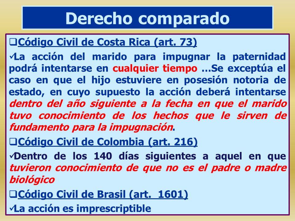 Derecho comparado Código Civil de Costa Rica (art. 73) La acción del marido para impugnar la paternidad podrá intentarse en cualquier tiempo …Se excep